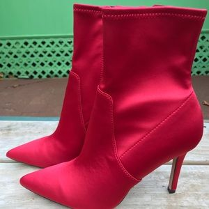 Aldo red ankle boots